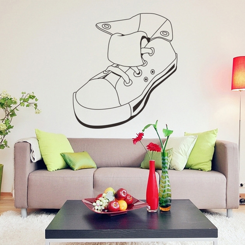 Sport Shoes Canvas Shoe Simple Black Wall Sticker Kid Baby Room Home Decor  Bathroom Window Shop Bar Boy Decal DIY Removable In Wall Stickers From Home  ...