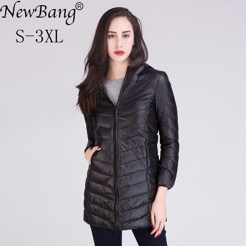 NewBang Women Ultra Light White Down Jacket Women's Down Jacket Long Female Winter Warm Coat  Woman Slim Windbreaker Coats