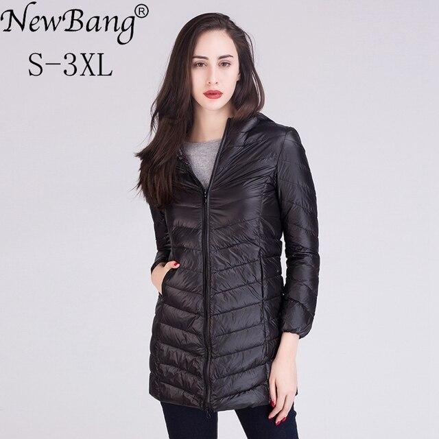 Newbang mujeres ultra ligero de Abrigos de plumas chaqueta femenina invierno  cálido abrigo mujer delgada cazadora df81ee7481ba