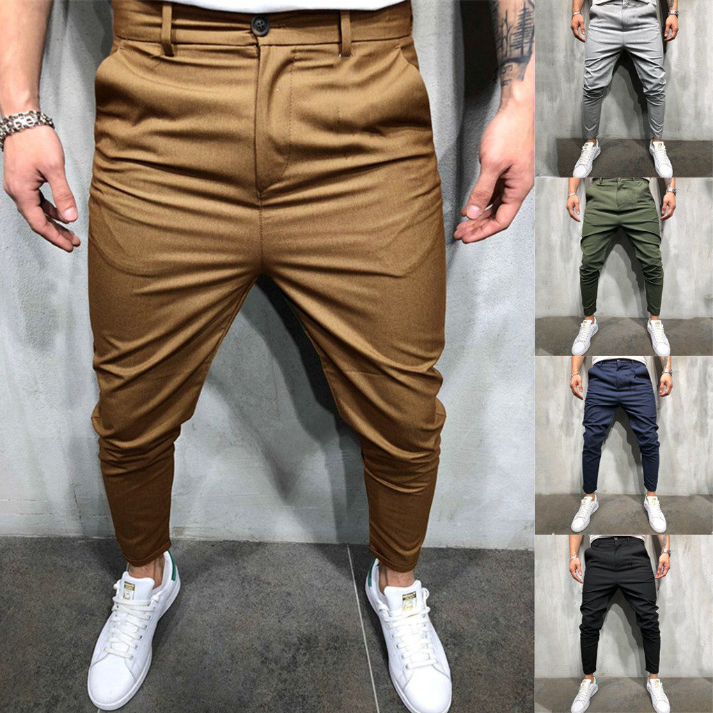 2019 New Fashion Men Slim Pure Color Bandage Casual Smart-Pants Drawstring Pants Pantalones Hombre Streetwear Joggers Sweatpants