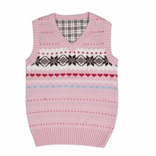 2017 autumn children's clothes girls vests causal v neck cotton warm baby girl knitted pullovers vests for girls big kids tops