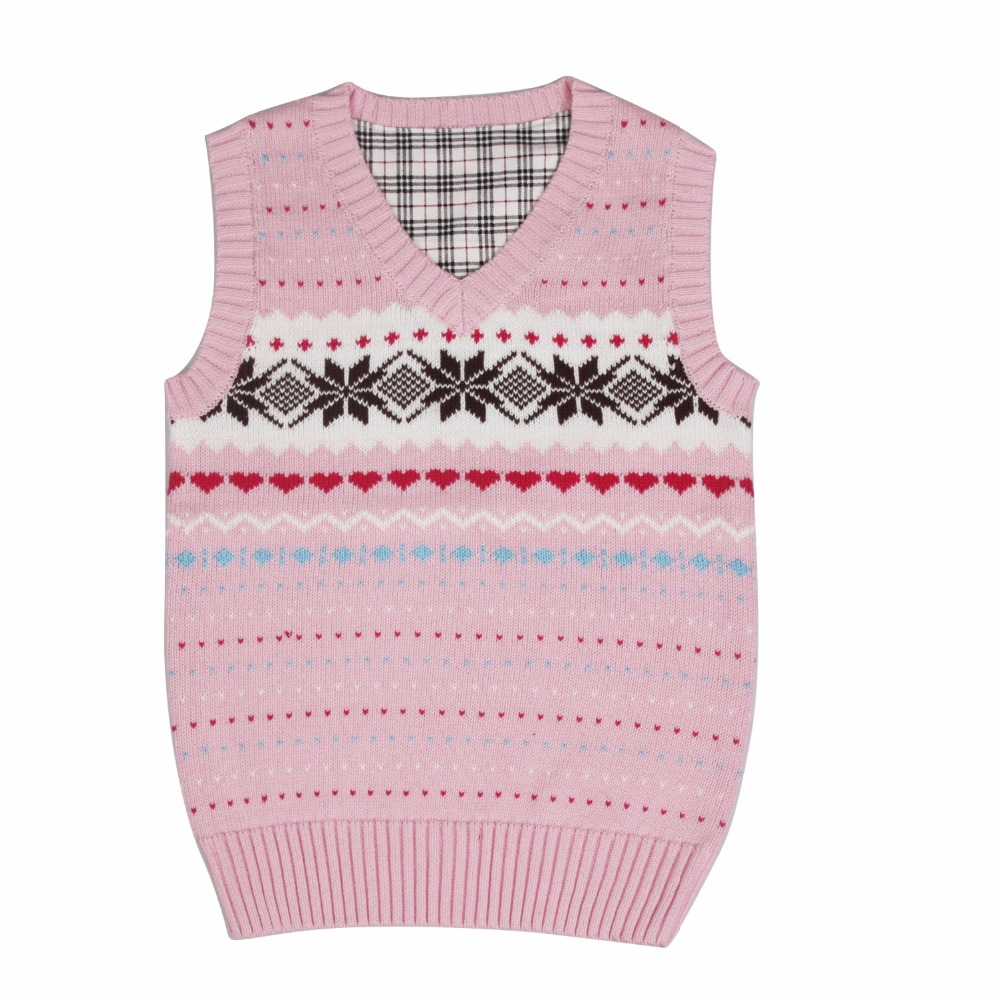 2016 autumn children's clothes girls vests causal v neck cotton warm baby girl knitted pullovers vests for girls big kids tops