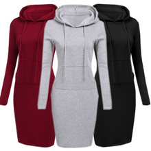 e5d026a50479 Hooded Hoodie Dress For Women 2018 Autumn Winter Fleece Solid Hoodies With Pockets  Women's Sweatshirt Dresses Casual Vestidos