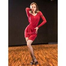 Long-sleeved Dancebaby Red Black Latin Dance Practice Clothes Female Adult New Wear Mesh Dress Girls DA925