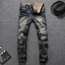 Italian Vintage Style Fashion Men Jeans Slim Fit Destroyed R