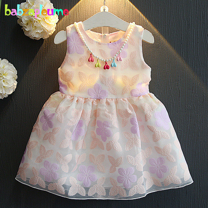 2 6Years Summer Children Clothes Baby Girls Dress Flowers Sleeveless Princess Toddler Dresses With Necklace Kids