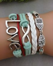 1pcs Infinity, Owl & cord Charm Bracelet-Silver, Korean Cashmere and Leather Braided Bracelet- 1230 Mini order 10$(China)