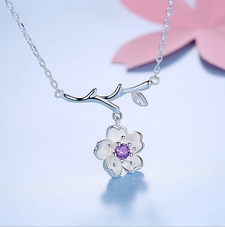 925 Sterling Silber Sakura Blume Halsketten & Anhänger Kirschblüten ...
