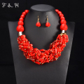 Multi color African Beads Jewelry Sets Red Beads Chain Chunky Indian Wedding Necklace Set Handmade Weave Crystal Collar Vintage