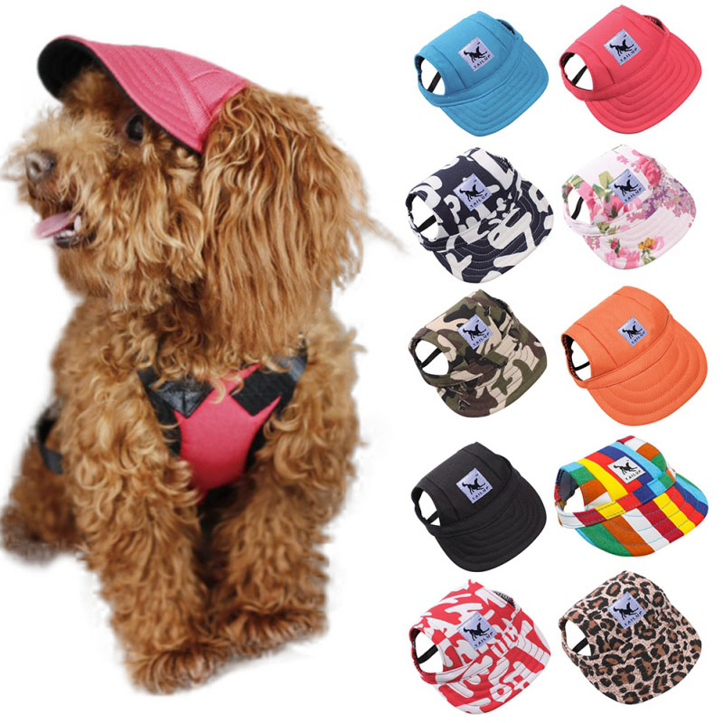 151e60c386c Cute Dog Hat With Ear Holes Summer Canvas Baseball Cap For Small Pet Dog  Outdoor Accessories