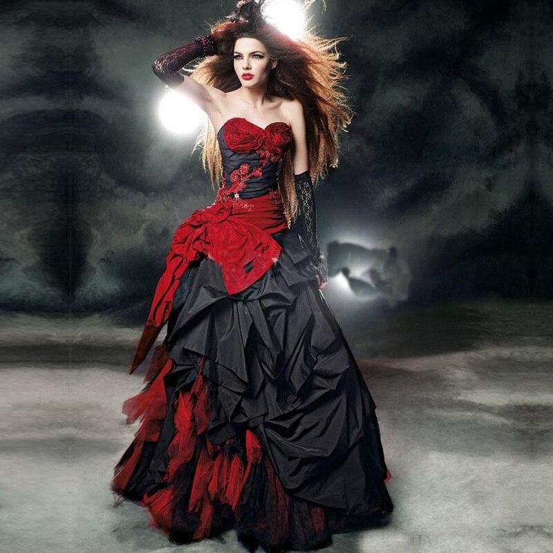 Nueva Góticos Vestidos de Novia de Tafetán Rojo Y Negro Longitud Del Piso Ata Para Arriba