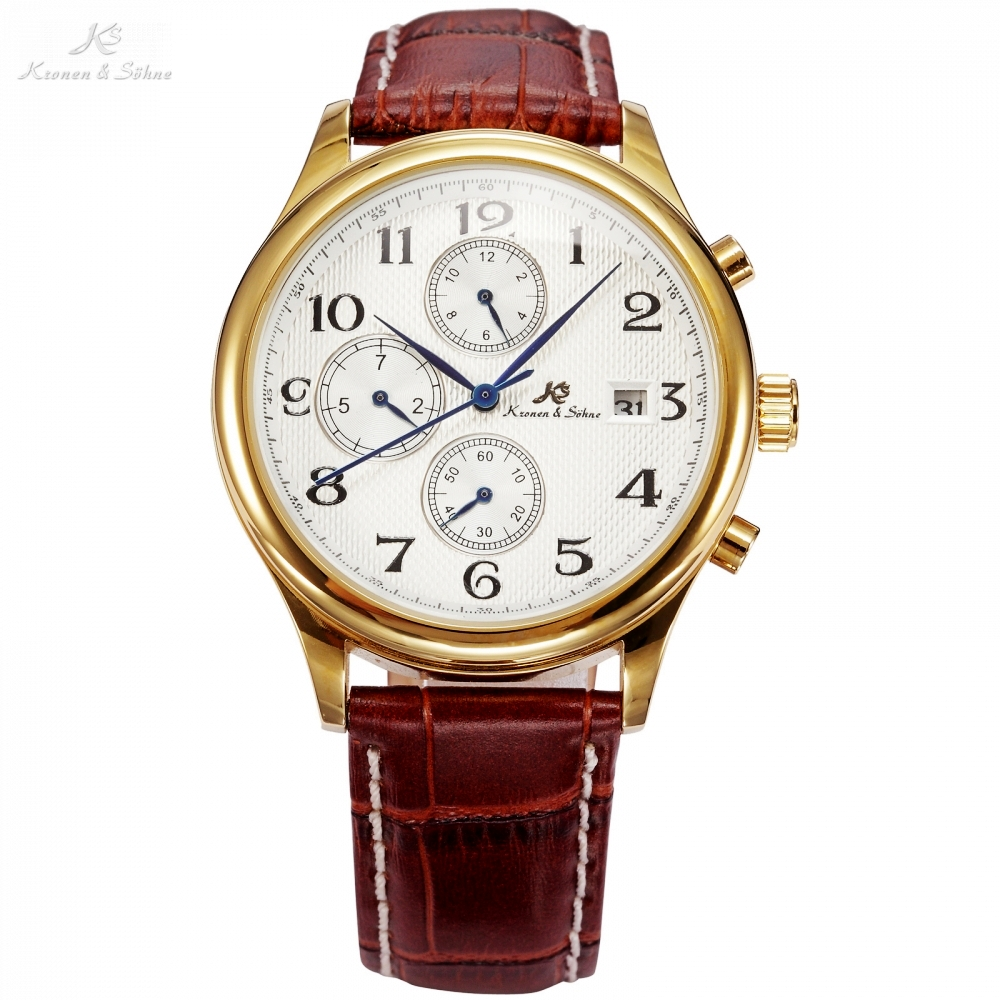 KS Brand IMPERIAL Series 3 Dial Date Month Day Display Brown Leather Strap Men Auto Mechanical Golden Luxury Watch Gift /KS155