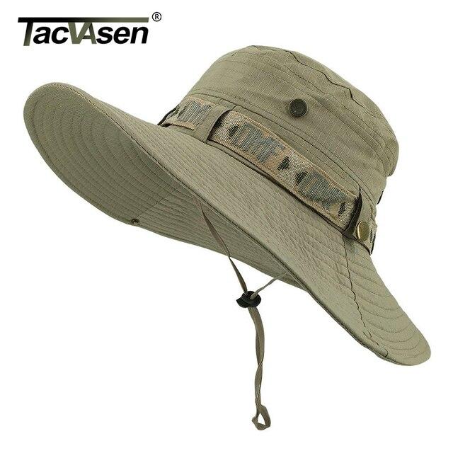 TACVASEN ordu erkekler taktik Sniper şapka balık kova şapka Boonie şapka yaz güneş koruma Safari kap askeri yürüyüş avcılık şapka kapaklar