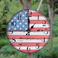 Vintage Home Decor Large Wooden Wall Clock Round Vintage American Flag Home Decor Antique Style Creative