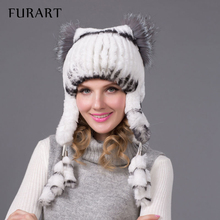FURART  Women winter rex rabbit fur hat ear protector caps knitted bomer hat 2015 fashion causal fur headgear good quality