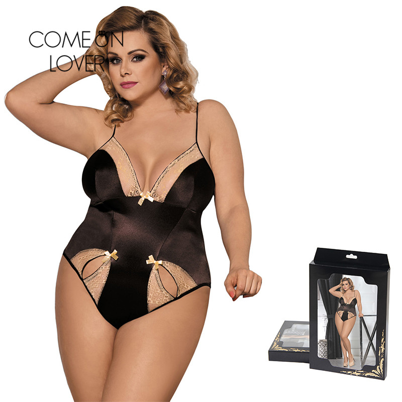 Comeonlover Bodies Woman Sexy With Two Holes Front For Women Bodysuit One Piece Plus Size Stain Rompers Womens Jumpsuit RI80353