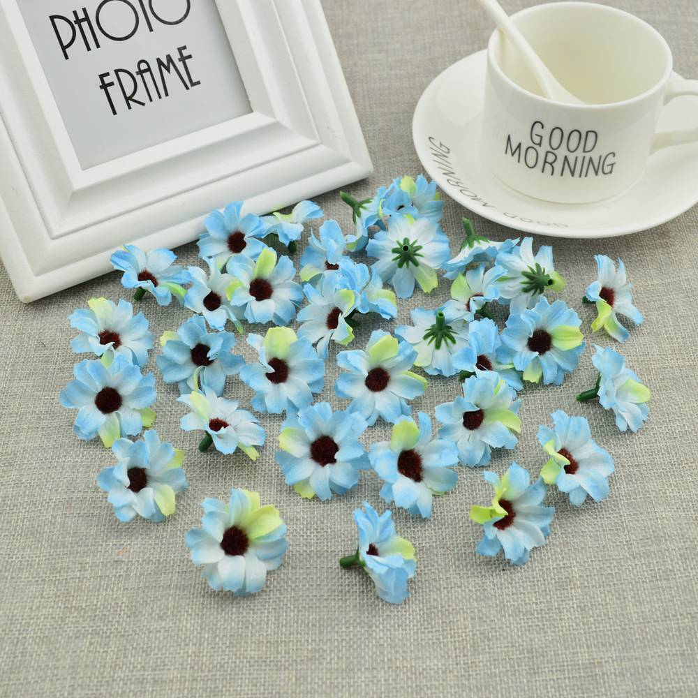 Image 5 - 50pcs Silk small daisies cheap Artificial flowers vine Wedding decoration DIY wreath Candy box accessories Fake Sunflower-in Artificial & Dried Flowers from Home & Garden