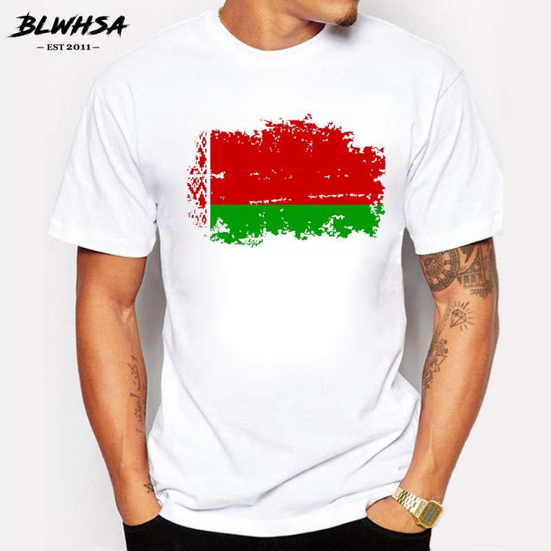 BLWHSA Belarus Flag   T     Shirts   Men Fashion Classic Short Sleeve Cotton Belarus Ethnic Summer   T  -  shirt   Funny Nostalgia Tops Tees