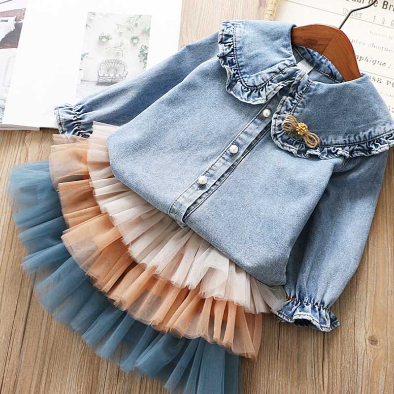 IYEAL Girls Clothing Sets 2021 New Spring Kids Clothes Long Sleeve Denim Shirts+Tutu Cake Skirt 2Pcs Children Toddler Outfit 2