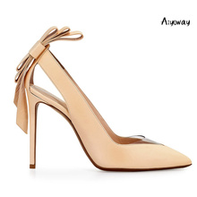 Aiyoway Women Shoes Ladies Pointed Toe High Heels Pumps Heel Bow Autumn Spring Wedding Party Slip On Black Beige Big Size