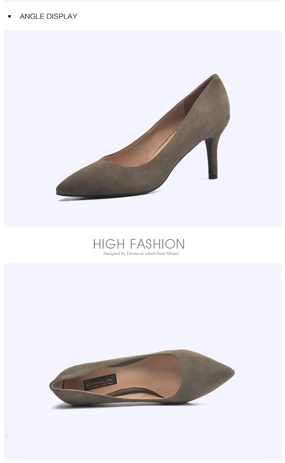 ... Donna-in 2017 Newest women Pumps Genuine suede leather Thin Heel  Pointed Toe Spring heels ... 4c9c1d8e0021