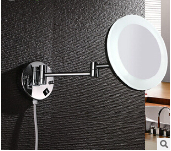 8 new  Double Side ulthra-thin Bathroom Folding Wall Mounted chrome Extend with Dual Arm1x3x Magnifying with LED free shipping antique 8 double side folding brass shave makeup mirror wall mounted extend with arm round 1x3x magnifying bm004
