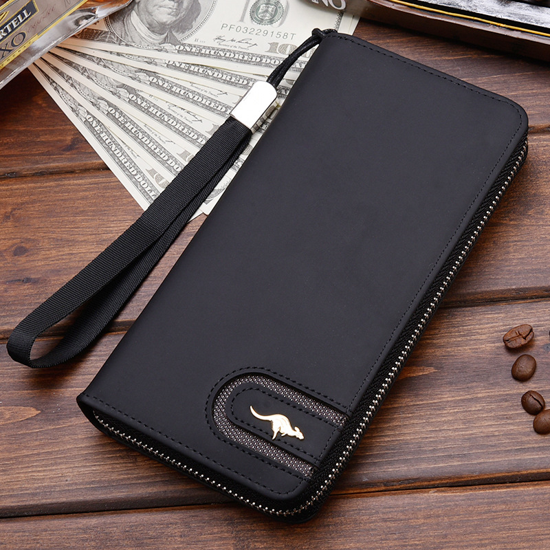 High Quality Men's Leather Wallet Zipper Long Purse Big Capacity Clutch Phone Bag Wrist Strap Coin Purse Card Holder For Male