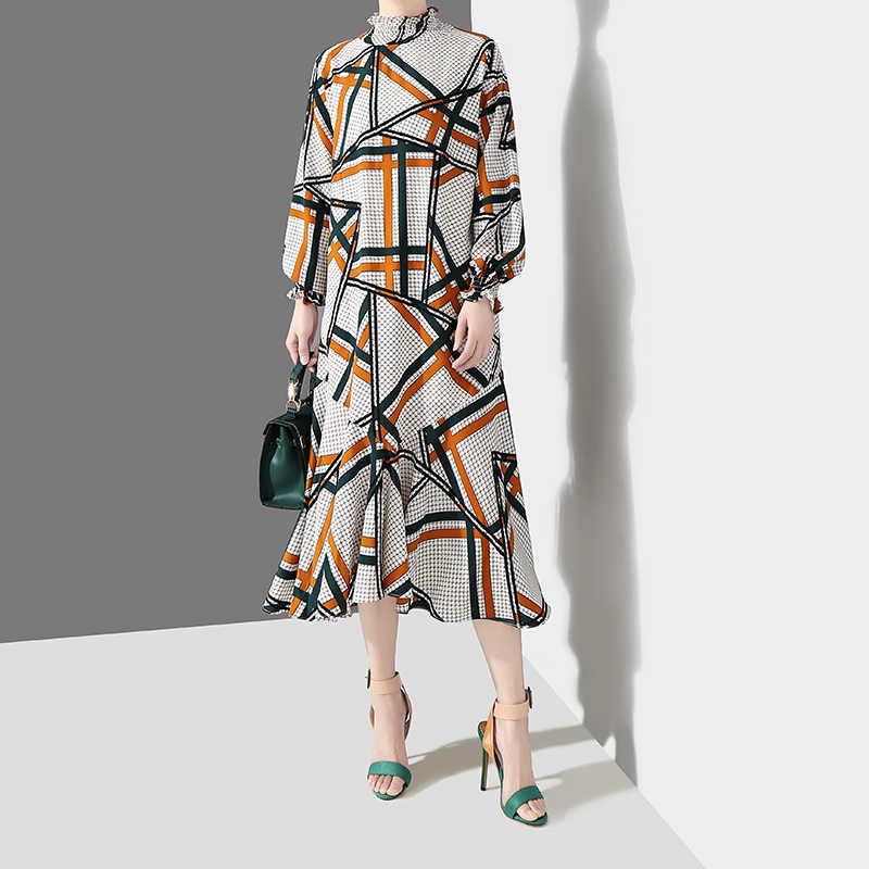 2019 женское осеннее белое длинное платье в Корейском стиле с асимметричными полосками, чехол с принтами, воротник, длинный рукав, женское на вечеринку в клуб, платье 4763