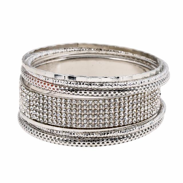 Fashion 2016 Multilayer gold sliver bracelets bangles for women New brand Rrhinestone jewelry femininas indian bangles
