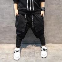 Kids harem Hip hop Dance False Third pantskirt Casual Black slim Pencil Trousers Spring Autumn Child Skinny PP Pants