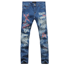 2017 new style straight leg denims lengthy males male printed denim pants cool cotton designer good high quality model trousers MJB020