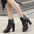 Retro Saltos Grossos Sapatos Simples Mulheres Sapatos Com Saltos de Peixe das Mulheres boca Zip Calcanhar Praça Casual Roma Pu Coreano Marca de Sapatos Da Moda