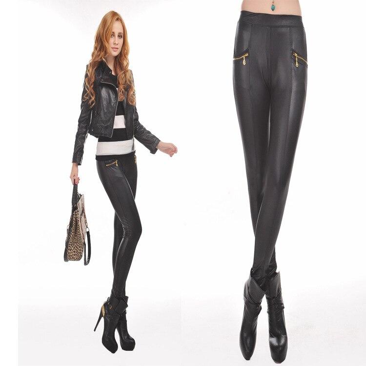 2017 Hot New leather punk waist trousers waist double zipper Black PU Leather Leggings Leguin Capris Gaiters Boothoses Wholesale