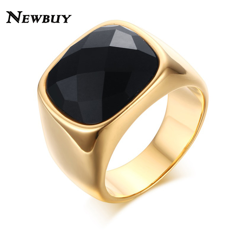 NEWBUY Men Big Black Glass Stone Rings For Party Rock Punk Jewelry ...