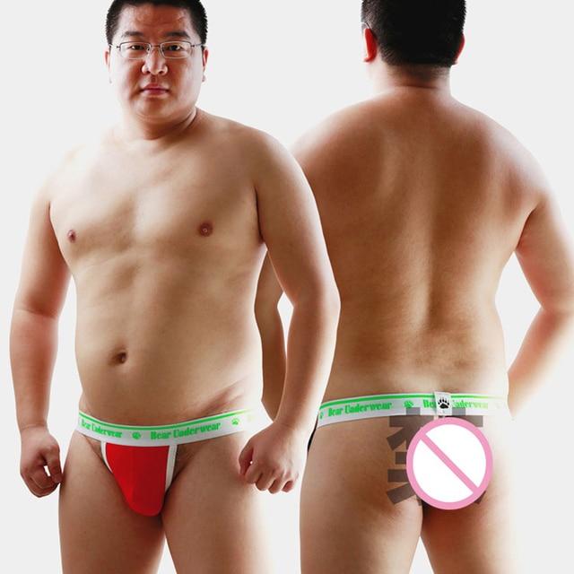 Novo 2015 Plus Size Urso Garra Homens Underwear Modal Jockstrap Gay Suportar G-cordas tangas T-back Shorts Projetados Para Suportar M L XL XXL