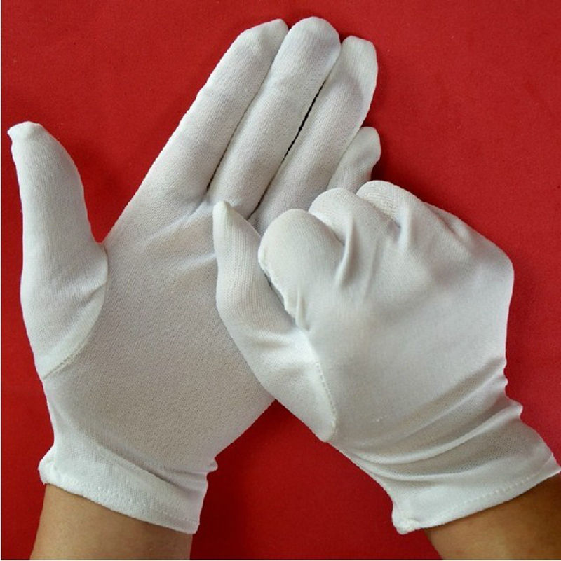 1 Pair Medium Thick White Cotton Polyester Gloves Chemistry Lab Sanitary Gloves Multipurpose Handling Cleaning Tools