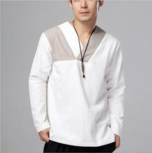 New Design Linen Younge men's clothing Ethnic Shirt top male wear Autumn Chinese style flax long sleeves Retro Tang Suit top red slit design bateau long sleeves top