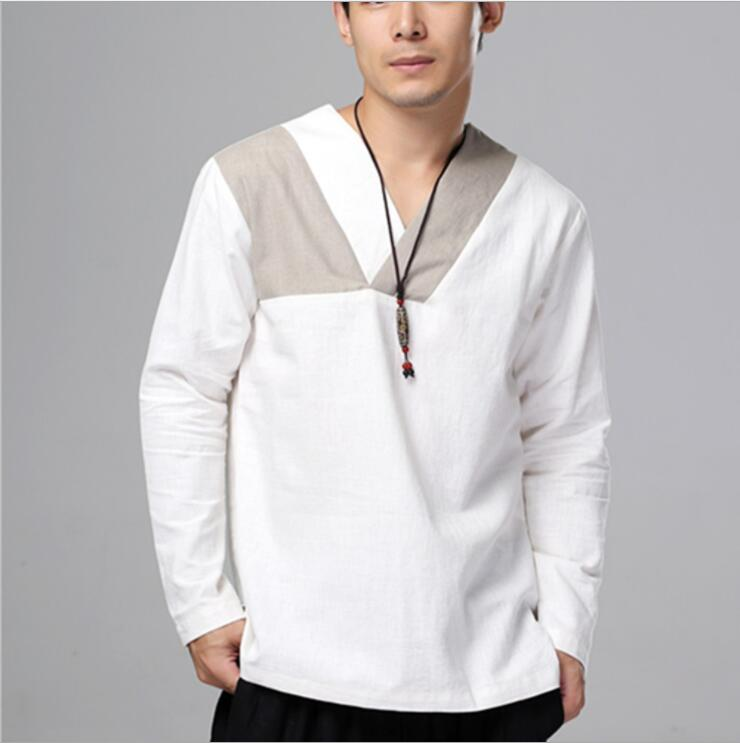 New Design Linen Younge men's clothing Ethnic Shirt top male wear