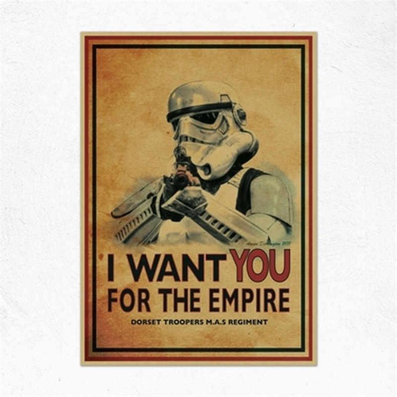 Mixed Auftrag Vintage Classic Movie Star Wars Darth Vader Luke Jedi Poster Cafe Bar Home Decor Retro Kraft Papier Wand aufkleber