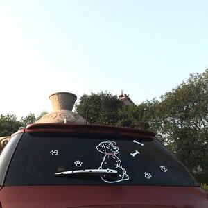 Image 5 - Модная мультипликационная наклейка с животным KAWOO для автомобиля, милый щенок с движущимся хвостом, автомобильные наклейки, светоотражающие украшения для заднего стекла и стеклоочистителя автомобиля