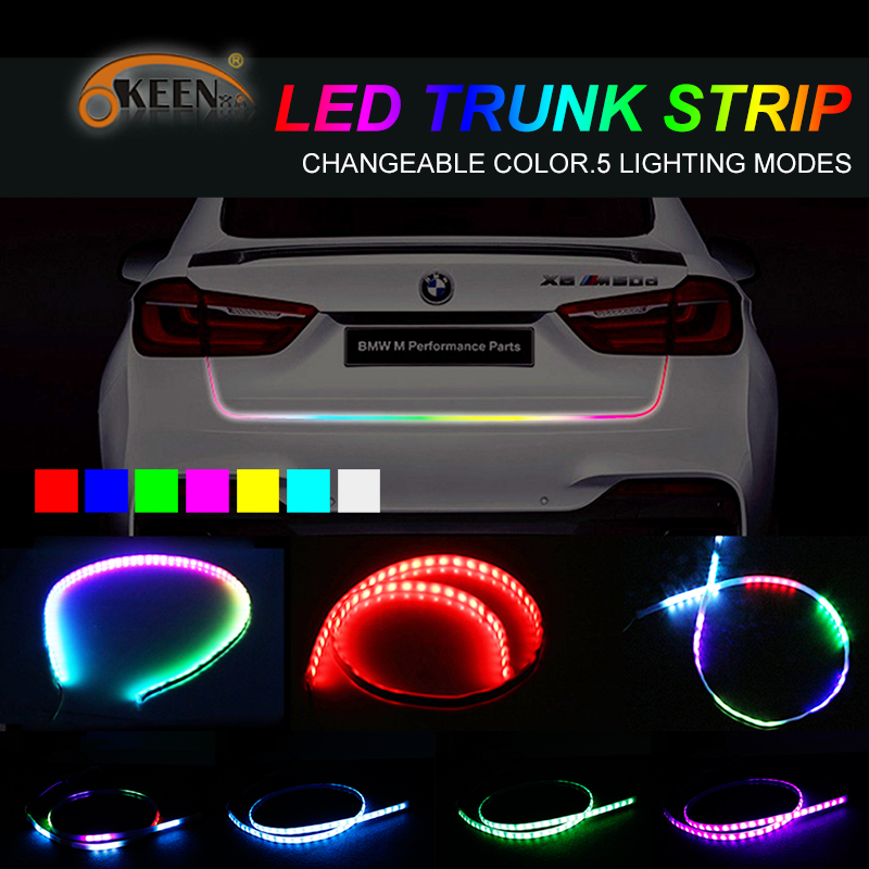 OKEEN Car Styling 5050 RGB Led Strip Trunk Light Waterproof LED Turn Signal Brake Tail Lights with 5 functions 7 Colors 48 Inch