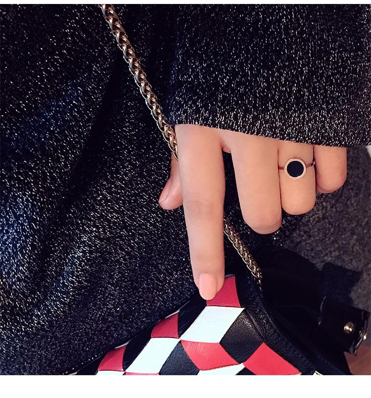 YUN RUO Mode Klasik Hitam Cincin Baja Titanium Naik Warna Emas - Perhiasan fashion - Foto 5