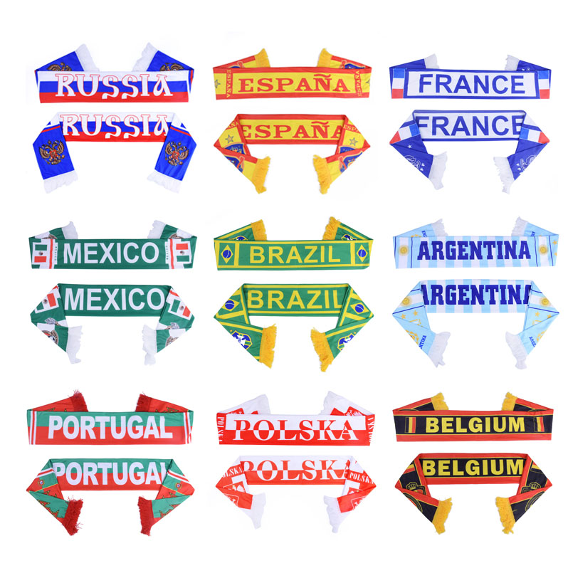 New 2018 Russia World Cup Football Fans Scarf Of Soccer Fan Scarf 32 Football Teams Scarf Flag Banner Football Cheerleader Scarf