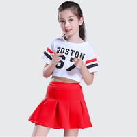 3pcs Children Street Dance Girl Hip Hop Costume White T shirt Red Skirt Kid Jazz Costume Cheerleading Kid Cheerleader Uniforms
