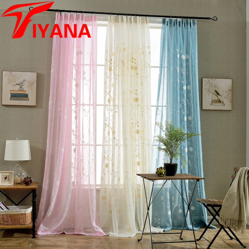 Romantic Rustic Tulle Embroidered Sheer Voile Curtains For