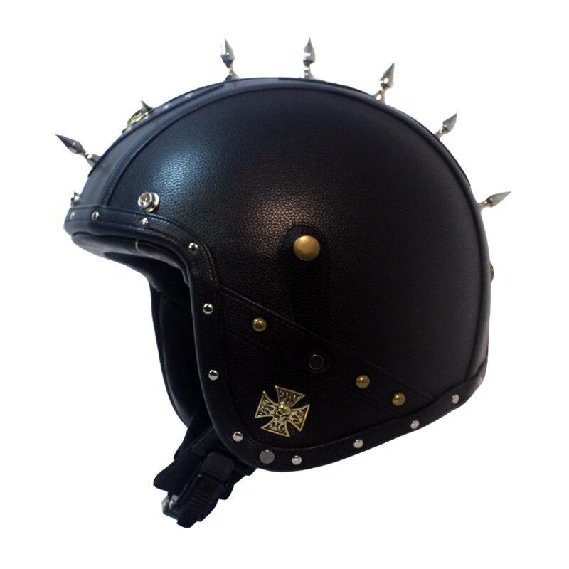Open Face Half Leather Helmet Vintage motorcycle helmets 3/4 half helmet Retro Leather Motorcycle Painted casco moto capacete