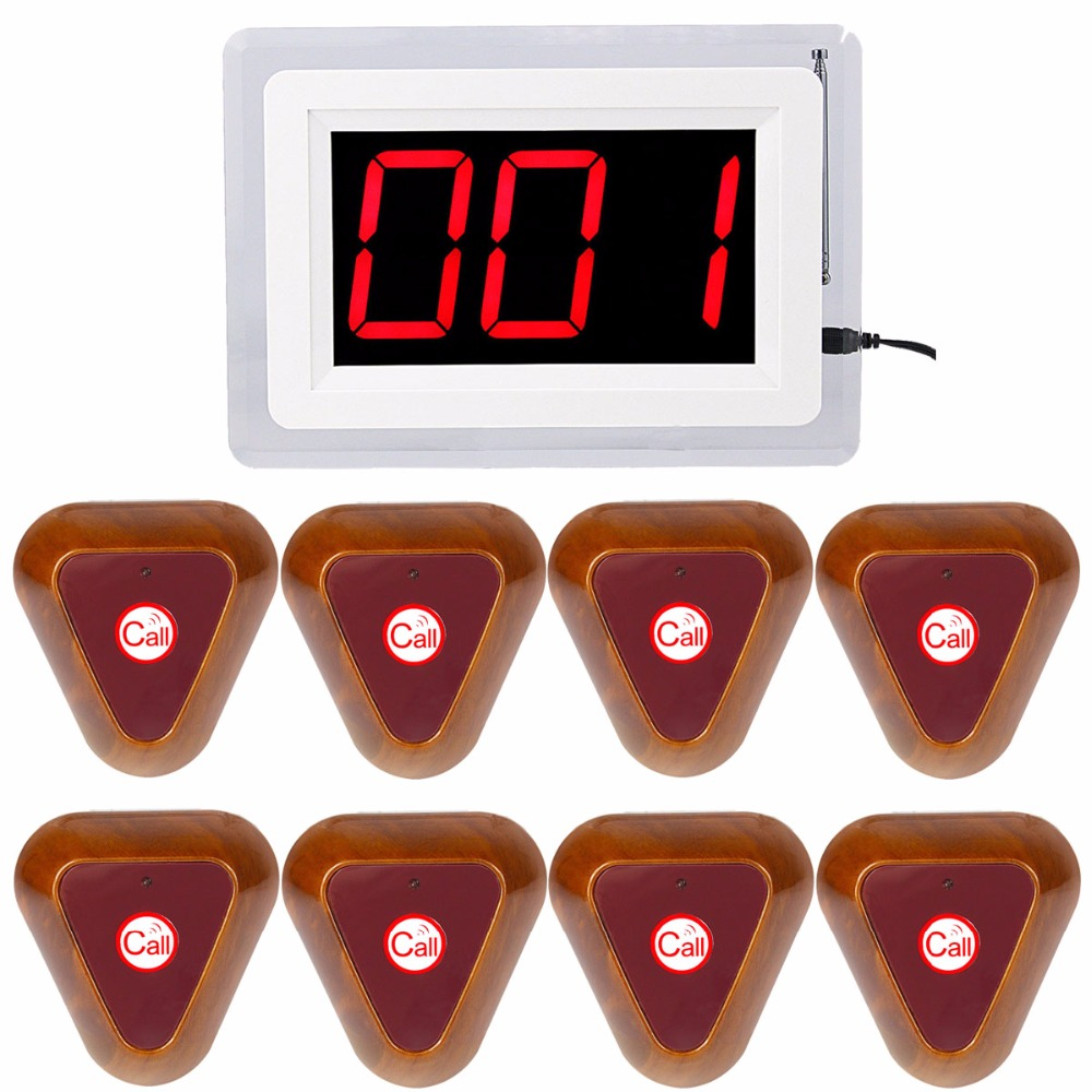 433MHz Nurse Calling System Wireless Hospital Voice Reporting Bell Call Pagers With 1 Receiver Host + 8 Button Transmitter F4400 hospital nurse call system 10pcs bell buzzer with 6pcs watch receiver can hang on neck
