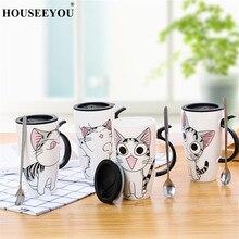 Прямая поставка, 600 мл, креативная керамическая кружка с кошкой, с крышкой и ложкой, мультяшная чашка для молока, кофе, чая, фарфоровые кружки, хорошие подарки
