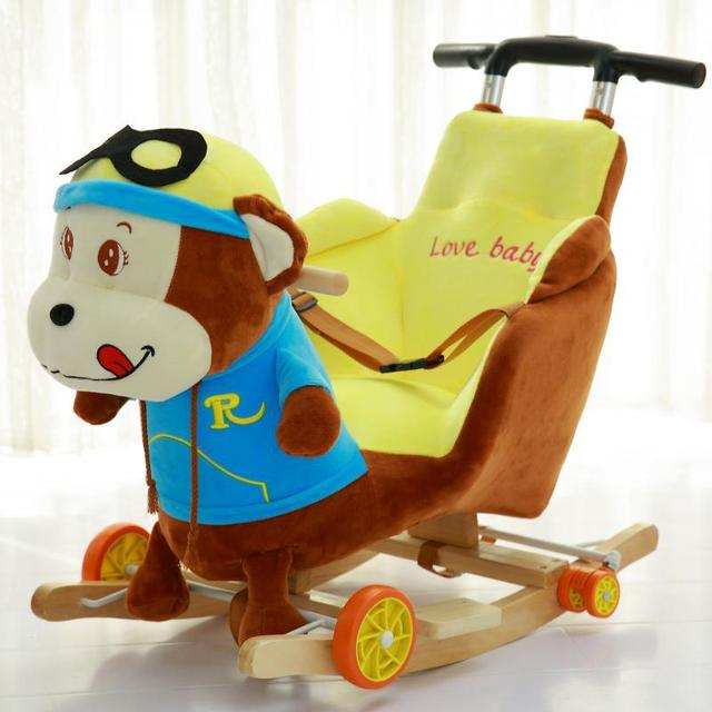 Children Rocking Chairs Baby Rocking Horse Ride on Animal Toys Dual-purpose with Music Baby Bouncer Wheel Chair Stroller 5M~4Y 2
