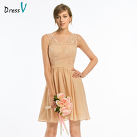 Dressv Elegant Dark Champagne A Line V Neck Bridesmaid Dress Wedding Party Women Short Mini Lace